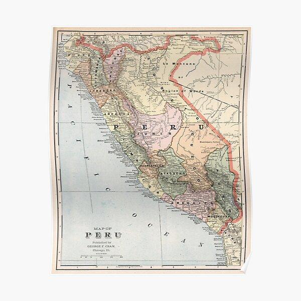 Mapa Vintage de Perú (1901) Póster