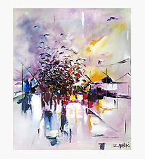 Birds on the street ( abstract city street landscape ) Photographic Print