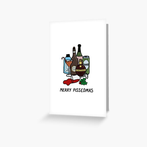 Merry Pissedmas, funny alcohol Christmas jumper Greeting Card