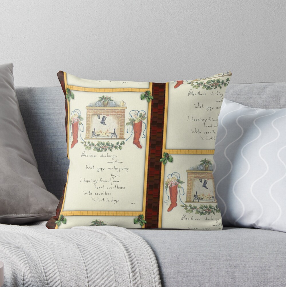 The Stocking Are Hung Throw Pillow