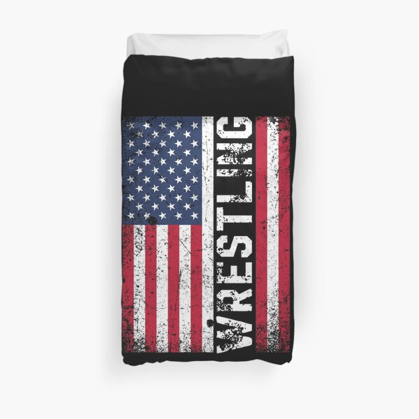 Wrestling USA flag Duvet Cover