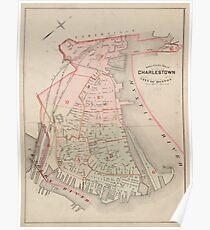 Vintage Map of Charlestown MA (1885) Poster