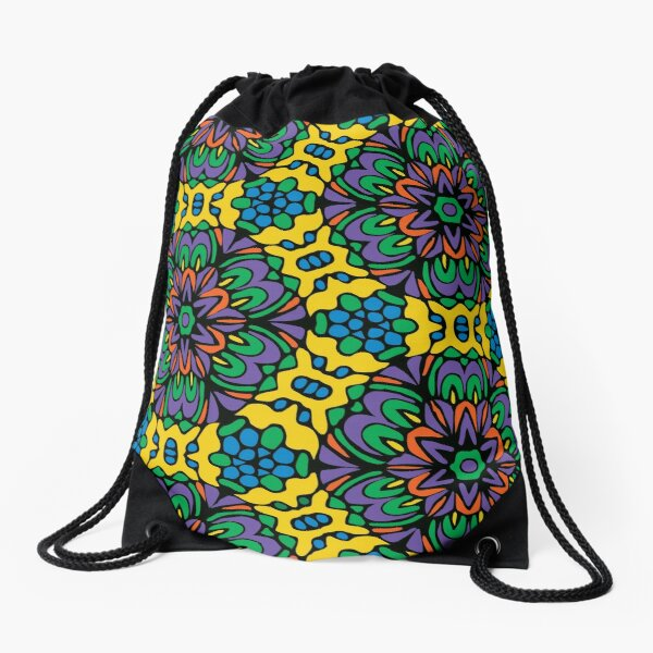 Bright Bold Retro Floral Garden Drawstring Bag