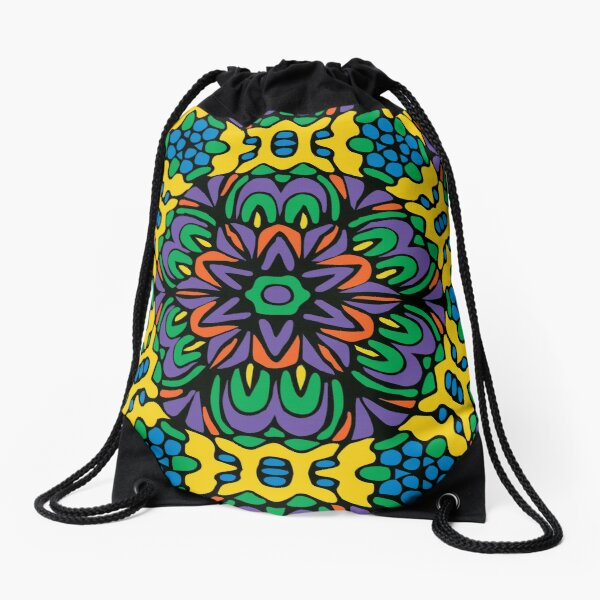 Bright Bold Retro Flower Drawstring Bag