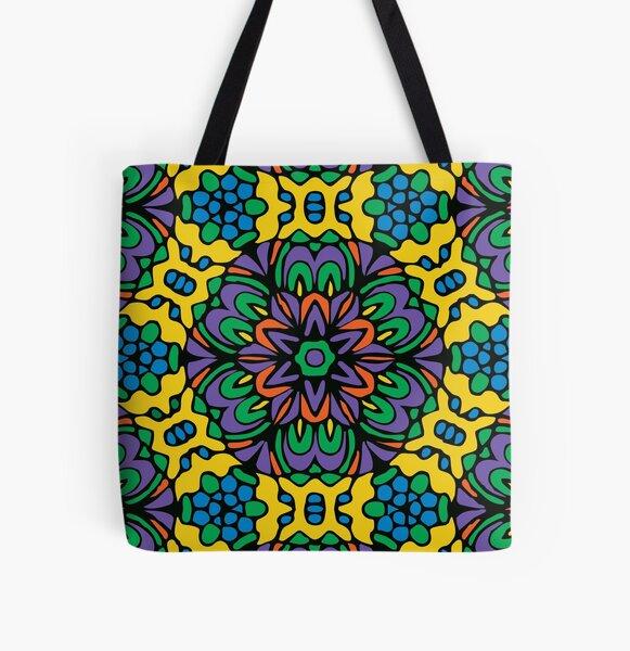 Bright Bold Retro Flower All Over Print Tote Bag