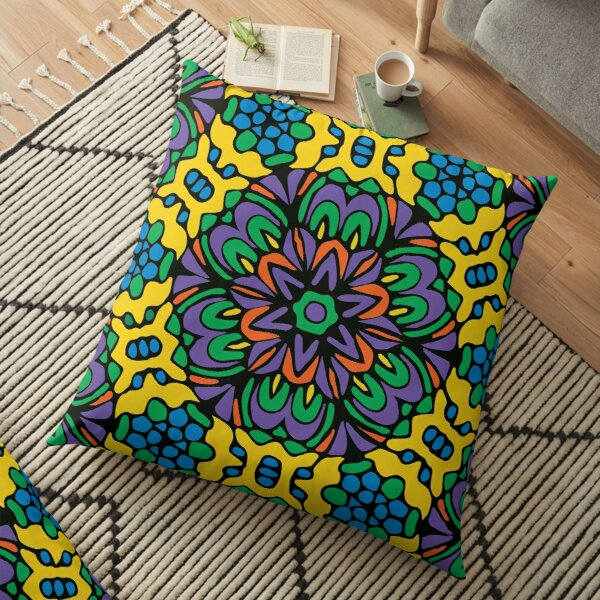 Bright Bold Retro Flower Floor Pillow