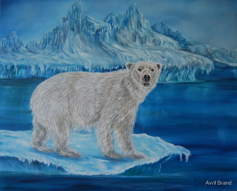 """Polar Bear on Ice"" - Oil Painting by Avril Brand"