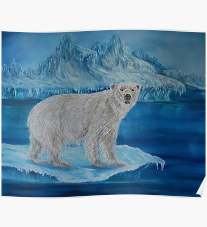 """Polar Bear on Ice"" - Oil Painting Poster"