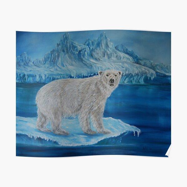 """Polar Bear on Ice"" - Oil Painting Poster"