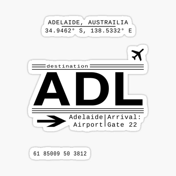 Adelaide Australia Airport Call Letters Sticker