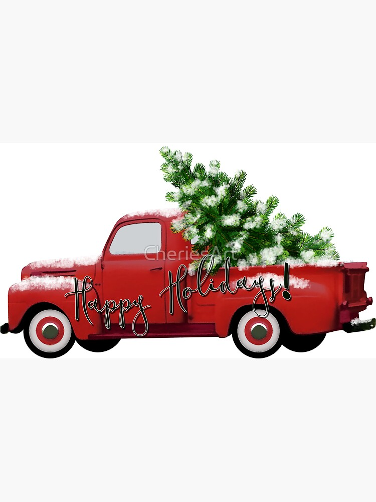 Happy Holidays! Vintage Red Truck by CheriesArt