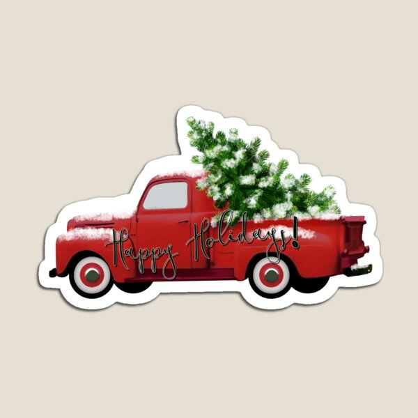 Happy Holidays! Vintage Red Truck Magnet