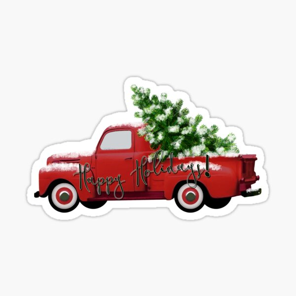 Happy Holidays! Vintage Red Truck Sticker