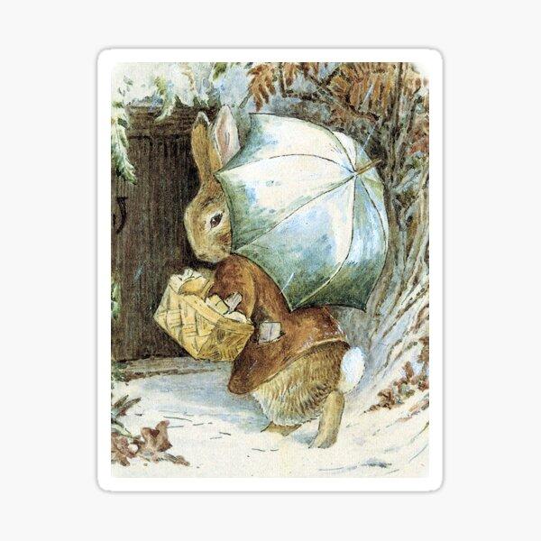 Rabbit in the Snow - Beatrix Potter greetings Sticker