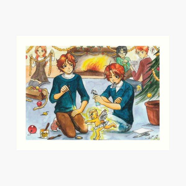 Fred y George y el ángel de Navidad Lámina artística