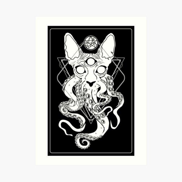 CATHULHU - the cosmic tentacle cat Art Print