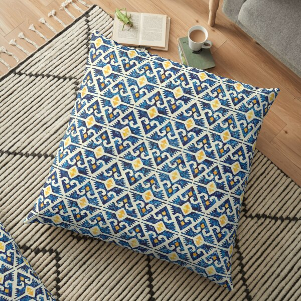 Thunderbird Kilim Watercolor Floor Pillow