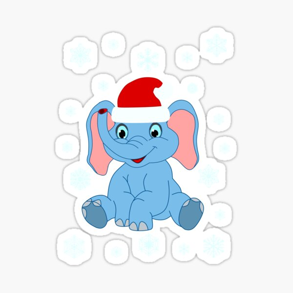 Baby Elefant Santa Mütze Illustration Comicstyle Sticker