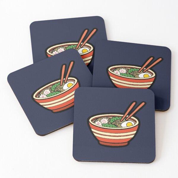 Ramen Bowl Pattern in Dark Blue Coasters (Set of 4)