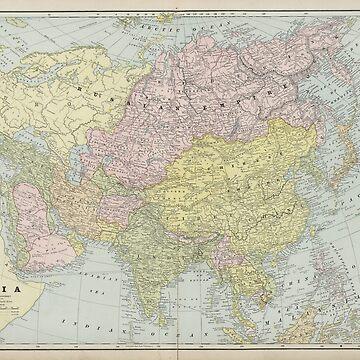 Vintage Map of Asia (1889) by BravuraMedia