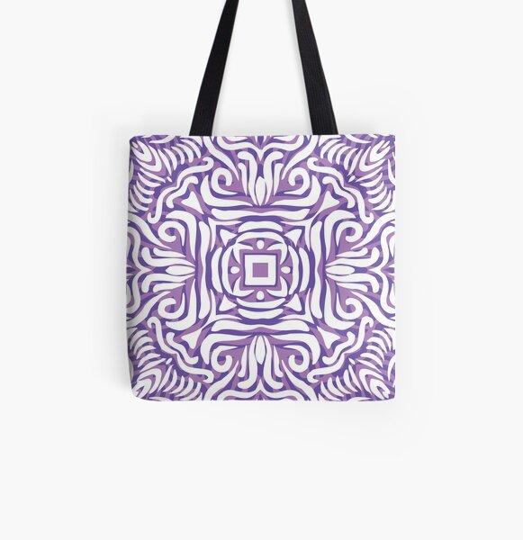 Purple, Lilac & White Swirly Mandala All Over Print Tote Bag