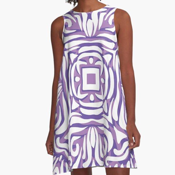 Purple, Lilac & White Swirly Mandala A-Line Dress