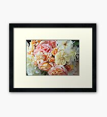 Peaches & Cream Roses, Detail #1 Framed Print