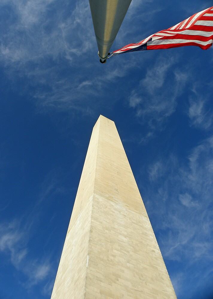 Washington Monument with Flag by Robert Arconti
