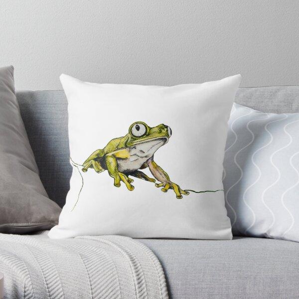 Lemur Leaf Frog Throw Pillow