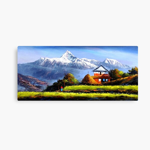 Panoramic View Of Beautiful Everest Mountain Canvas Print