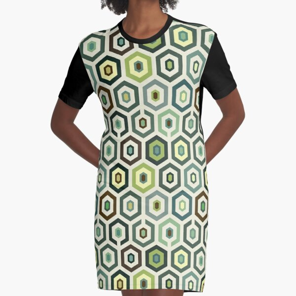 Hexographica: Green Graphic T-Shirt Dress