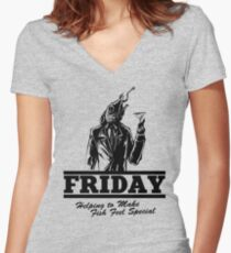 Friday Means Fish Special! Women's Fitted V-Neck T-Shirt