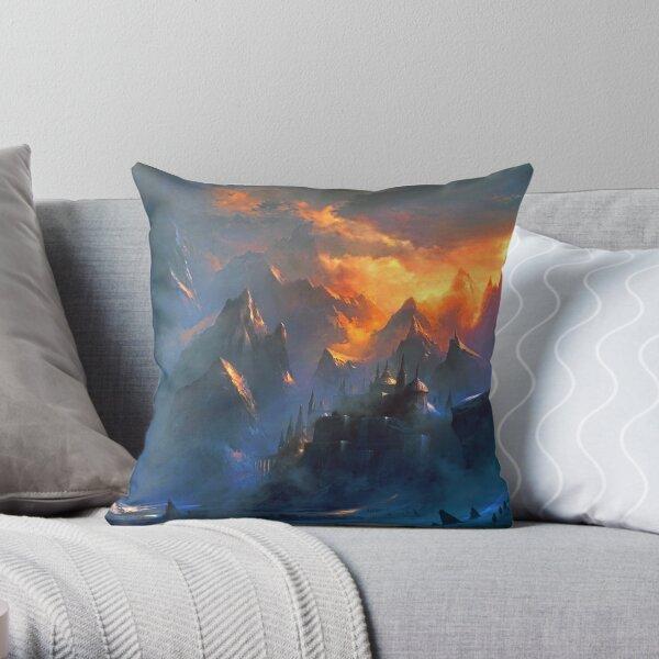 fantasy landcape - mountain village Throw Pillow