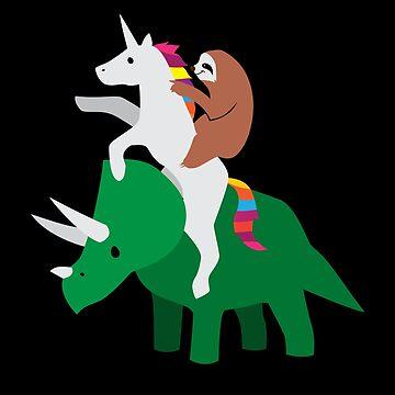 Sloth Riding Unicorn, Unicorn Riding Triceratops by japdua