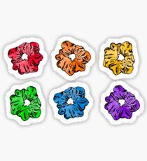 Hair Scrunchie Rainbow Watercolor 6 Pack Sticker