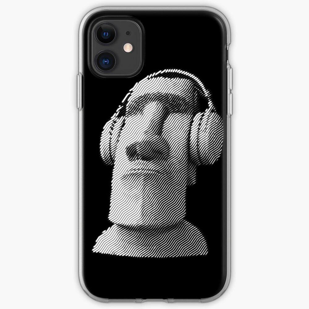 Moai wearing headphones iPhone Case & Cover