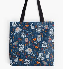 Fairy forest with animals and birds. Raccoons, owls, bunnies and little chick. Tote Bag