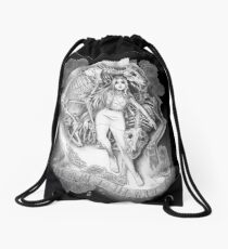 Throw Me To The Wolves (black pen and ink) Drawstring Bag