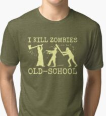 Funny Retro Old School Zombie Killer Hunter Tri-blend T-Shirt