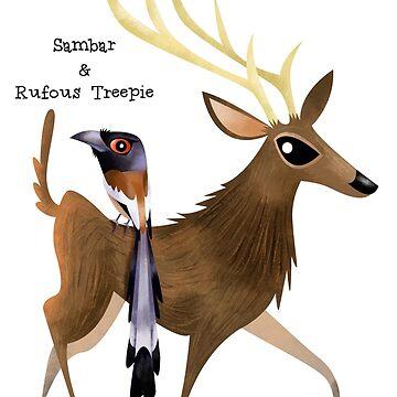 Sambar and Rufous Treepie by rohanchak