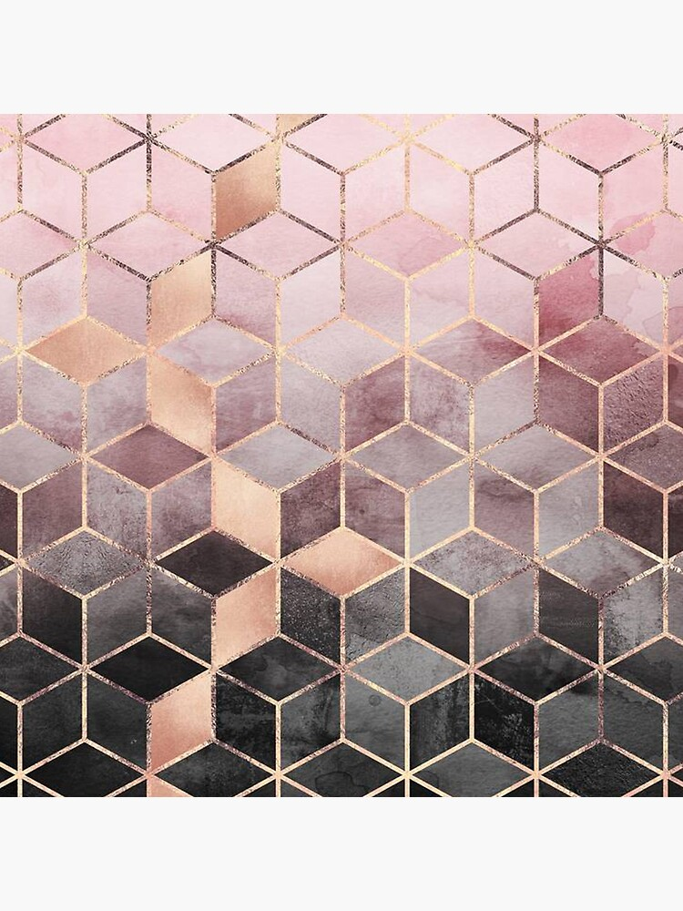 Pink And Grey Gradient Cubes  by lopolkihfes
