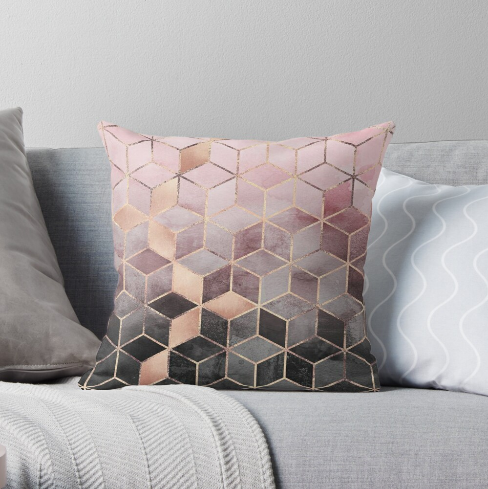 Pink And Grey Gradient Cubes  Throw Pillow