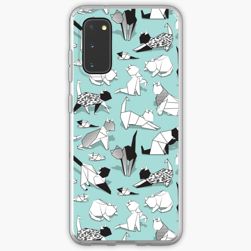 Origami kitten friends // aqua background paper cats Case & Skin for Samsung Galaxy