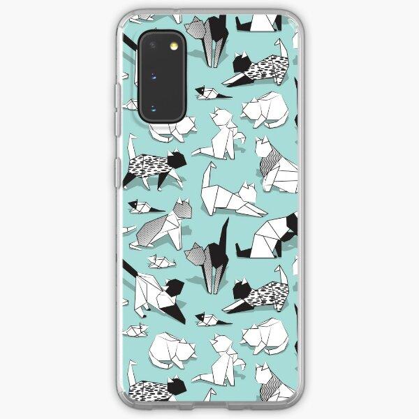 Origami kitten friends // aqua background paper cats Samsung Galaxy Soft Case