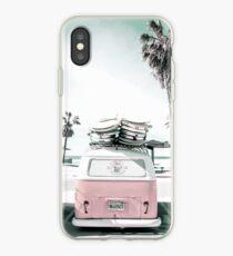 pink kombi van surf art in pastel iPhone Case