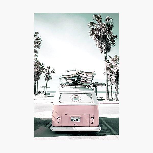 pink kombi van surf art in pastel Photographic Print