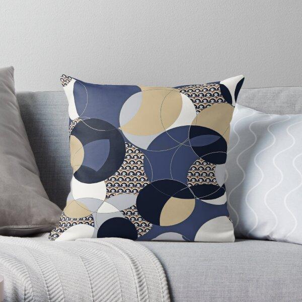Thistle Geometric Blue and Khaki Circle Print Throw Pillow