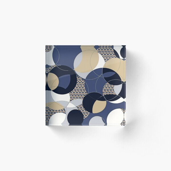 Thistle Geometric Blue and Khaki Circle Print Acrylic Block