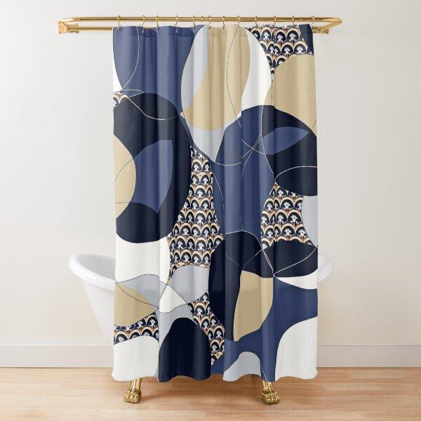 Thistle Geometric Blue and Khaki Circle Print Shower Curtain