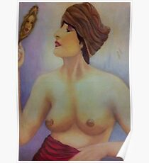 Woman with Mirror Poster